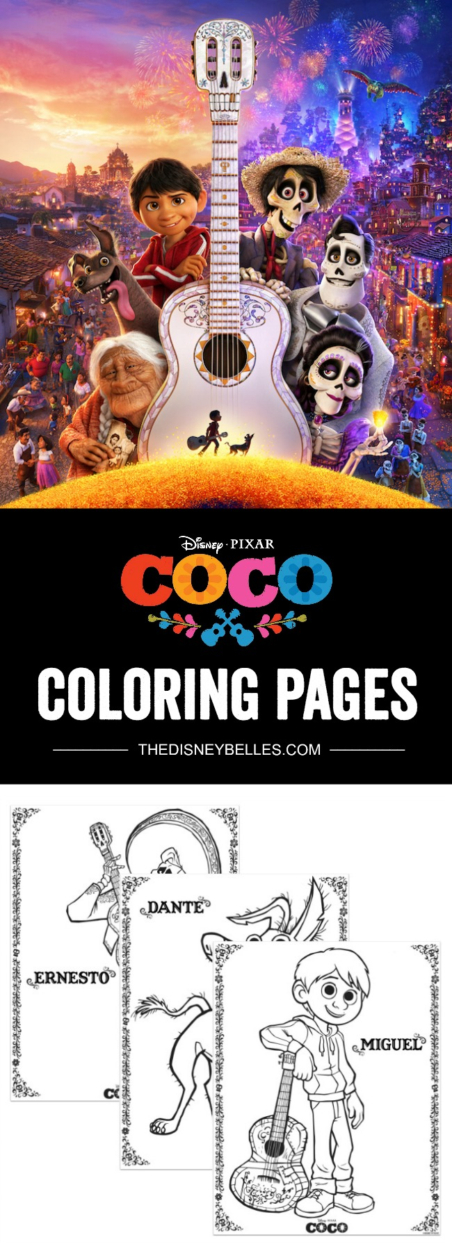 Are your kiddos looking forward to Disney Pixar's Coco - in theaters November 22nd? Download and print FREE Disney Pixar Coco Coloring Pages today!