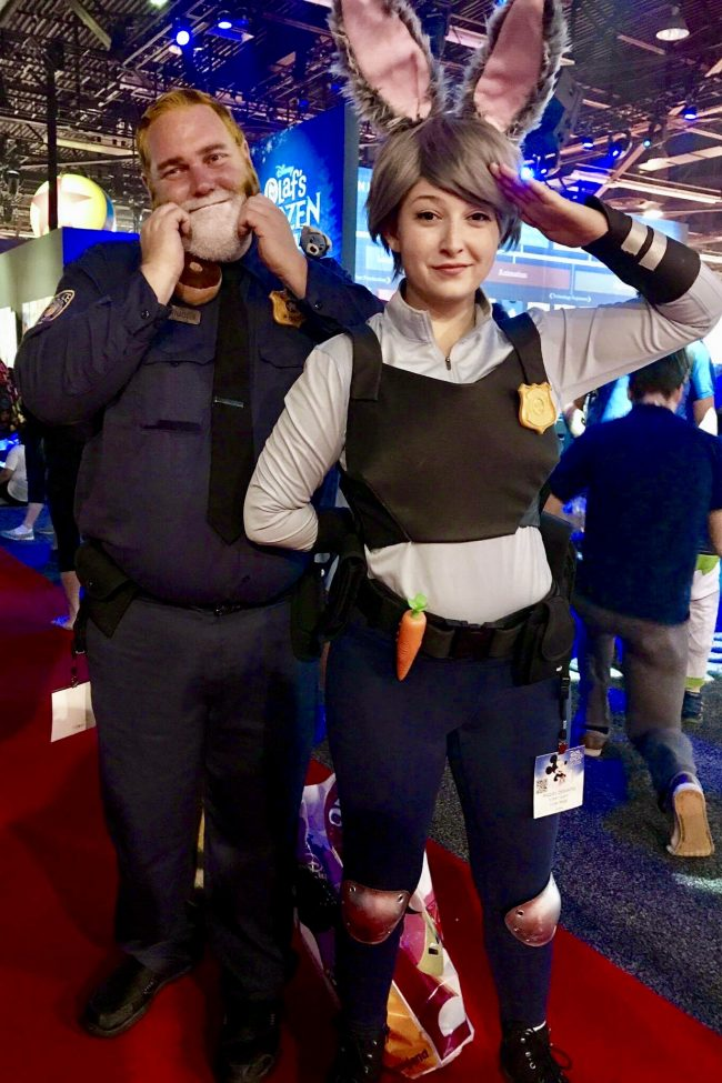Judy Hopps and Officer Clawhauser from Zootopia | Best Disney Costumes from the D23 EXPO