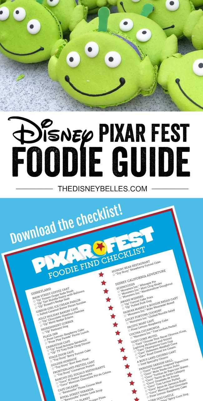 From Mike and Sully Popcorn Buckets to Alien Macarons, check out our Guide to Disneyland Pixar Fest Foods and Checklist to keep track of your Disney #PixarFest Foodie Finds! #Disneyland #PixarDisneyParks