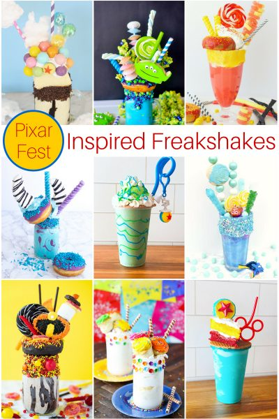 Inspired by Schmoozies Mint Chip Shake in Disney's California Adventure, this Pixar Fest Inspired Monsters Inc Inspired Freakshake is a festive way to bring the fun of Disneyland's Pixar Fest home! #Disneyland #PixarFest
