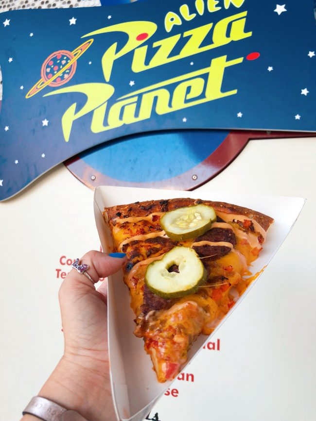 Cheeseburger Pizza. Alien Pizza Planet, Tomorrowland | Top 15 Disneyland Pixar Fest Foods #Disneyland #PixarFest